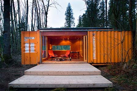 Sliding Door on Shipping Container in the Woods
